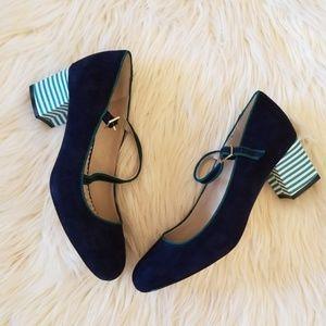 Cute boden striped mary jane heels